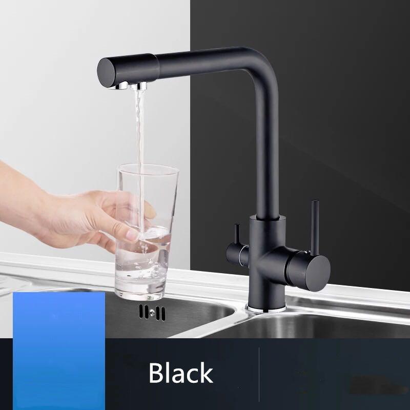 Nouveau noir cuisine évier robinet mélangeur sept lettre conception 360 degrés Rotation eau Purification robinet double poignée
