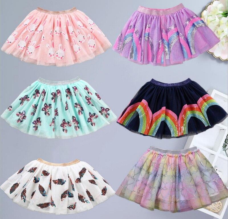 Wholesale Cute Skirt For Baby Girls Sequins Cartoon Unicorn Rabbit Rainbow Feather Fashion Skirt Children Clothes