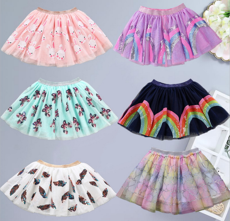 Wholesale Cute Skirt For Baby Girls Sequins Cartoon Unicorn Rabbit Rainbow Feather Fashion Skirt Children Clothes WN001-in Skirts from Mother & Kids    1