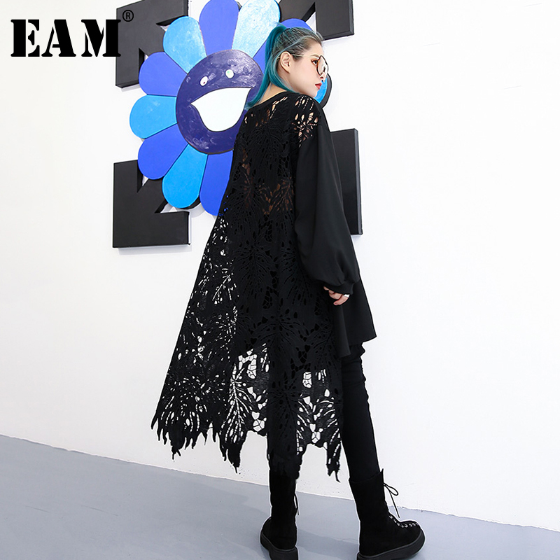 [EAM] 2020 New Spring Autumn Round Neck Long Sleeve Black Lace Hollow Out Irregular Loose Big Size Dress Women Fashion JH587