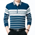 High quality Men Classic Striped Polo Shirt brand wool knitted  Long-Sleeve NEW Arrived 2016 autumn Polo homme Plus size M-XXXL