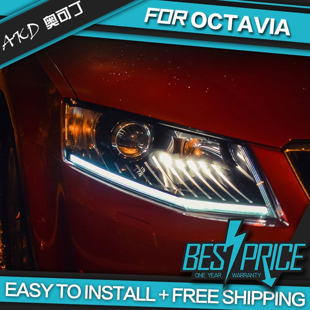 AKD Cars Styling Headlight For Skoda Octavia 2015 Headlights LED Running lights Bi Xenon Beam Fog lights angel eyes Auto levels