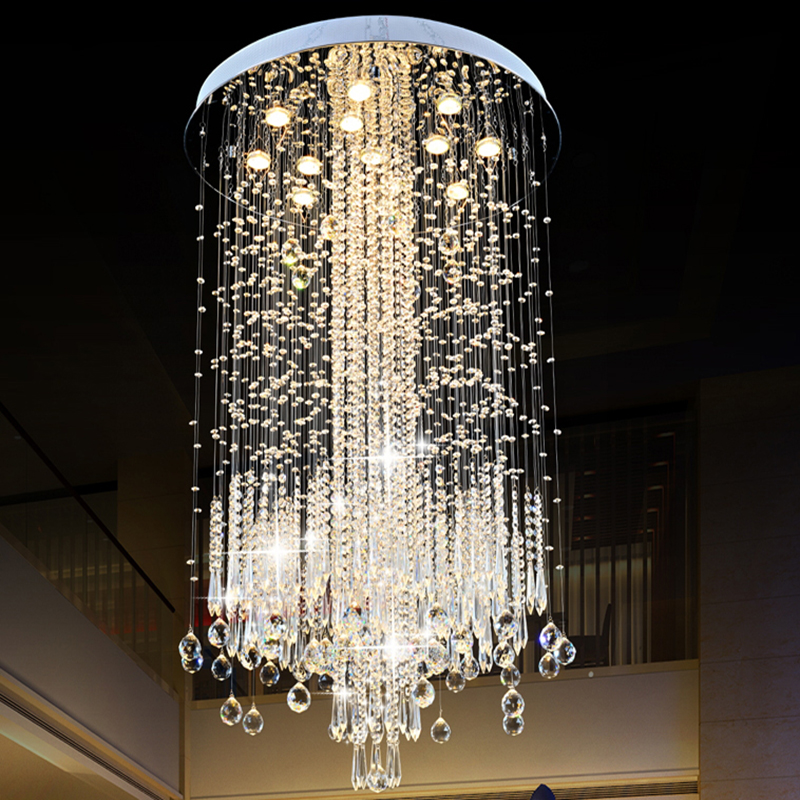 Modern LED Vanity Crystal Chandelier Light Ceiling Fixture Long Stair for Living Room Large Luxury Hotel Hall Foyer Lamp