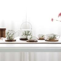 Verde creativo taza de café de porcelana juego de té de té de la tetera hogar plato de madera