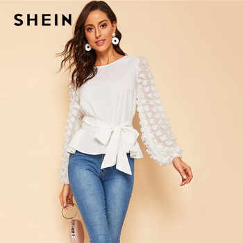 SHEIN Appliques Lantern Sleeve Belted White Blouse Women Tops Spring Elegant Long Sleeve Round Neck Solid Tops and Blouses - DISCOUNT ITEM  45% OFF All Category