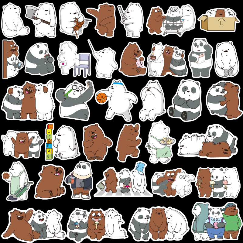 36pcs Waterproof Bare Bears Sticker Toy/ Cartoon Reusable Sticker For Diary Doodle Book Laptop Luggage Scooter DIY Sticker