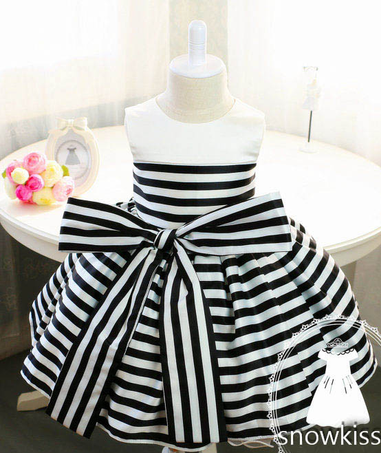 Baby Tutu 1st Birthday Black and White Stripes dress Ruffles Frocks For Toddler Kids Summer Dresses cute red and black princess dress sequin toddler summer dresses ruffles with bow baby girl sleeveless 1st birthday dress
