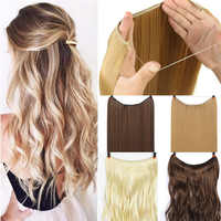 DIFEI 24 inch Invisible Wire No Clips in Hair Extensions Secret Fish Line Hairpieces Straight real natural Synthetic