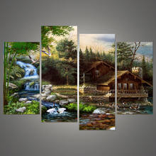 Painting Frame Art House Printed Poster Canvas Wall Modular Picture 4 Pieces/Set Waterfall Landscape Wedding Home Decoration(China)
