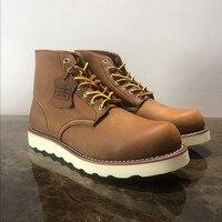 Мужские Винтажные ботинки наивысшего качества с круглым носком из натуральной кожи Goodyear Welted, модельные рабочие мотоциклетные ботинки, роск