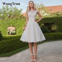 Short Wedding Dresses 2019 Vestido de Noiva Vintage Two piece Scoop A Line Knee length Lace Reception Dress Party Bridal Gowns