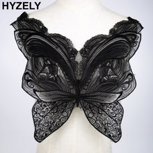 Black Butterfly Lace Collar Embroidered Neckline Trim Applique Embellishments Vintage Trims Wedding Dress Accessories BW138(China)