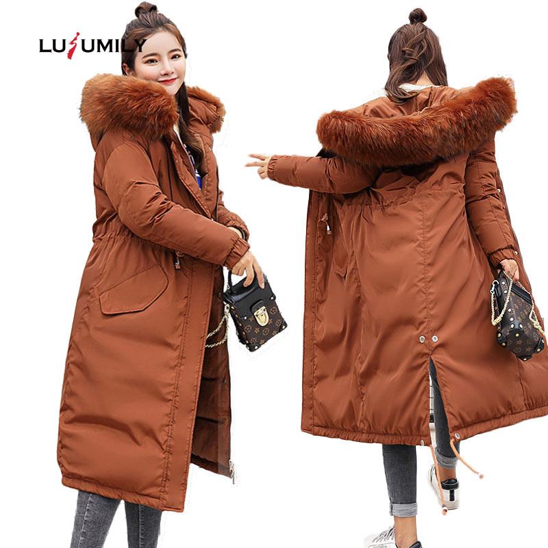 Lusumily 2019 Winter Coat Women Down Parkas Ladies Long Thicken Slim Big Fur Collar Warm Down