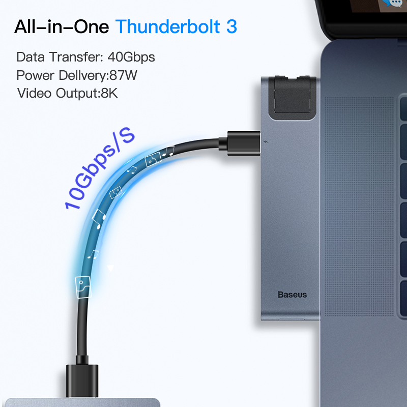 Image 2 - Baseus USB HUB C HUB to Multi USB 3,0 HDMI адаптер USB сплиттер  для MacBook Pro Thunderbolt 3 Dock RJ45 Двойной Концентратор USB Type C  Dex-in USB-хабы from Компьютеры и офисная техника on AliExpress