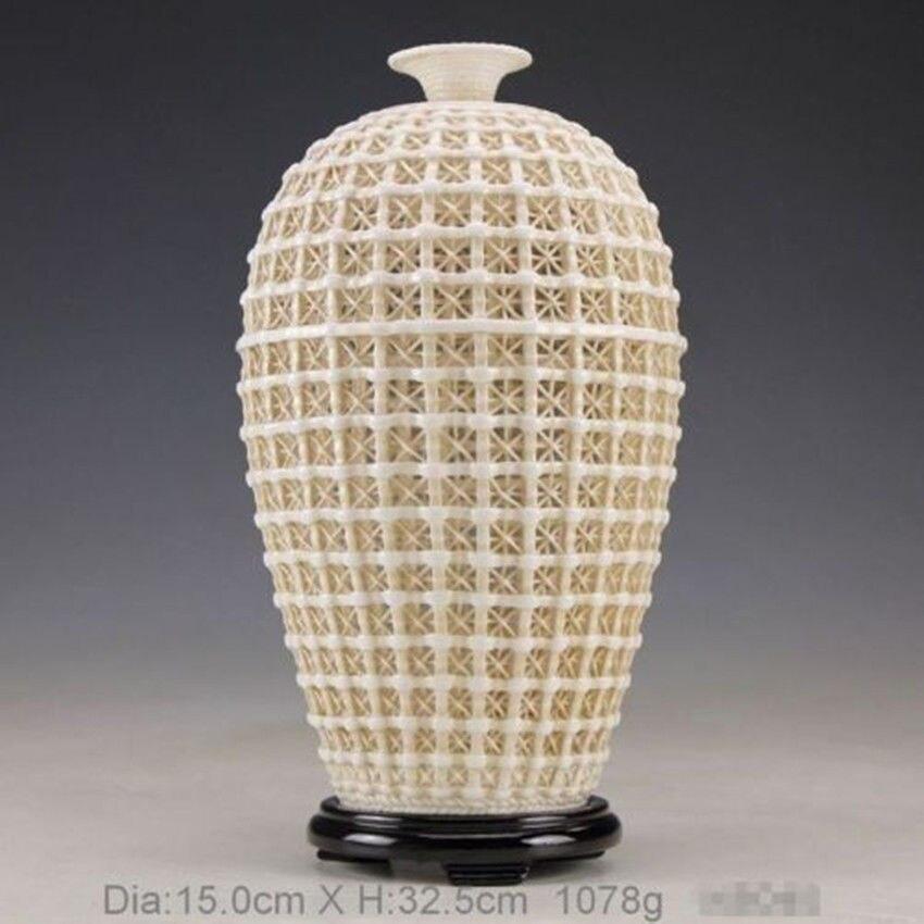 Exquisite Handwork Chinês Dehua Porcelana Branca Do Vintage Oca-out Ornamento Vaso