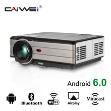 CAIWEI Full HD LCD Android WiFi Bluetooth Projector LED Light Beamer Home Theater Cinema Audio Video TV for Smartphone Laptop