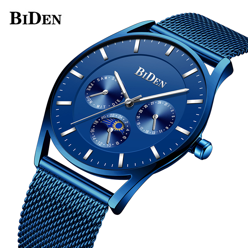 Men's Watches BIDEN Top Brand Luxury Waterproof Ultra Thin Date Clock Male Steel Strap Casual Quartz Watch Men Sport Wrist Watch цена