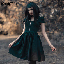 Gothic dress women punk rock front zipper turtleneck women's dress summer black cool chic harajuku fashion women pleated dress