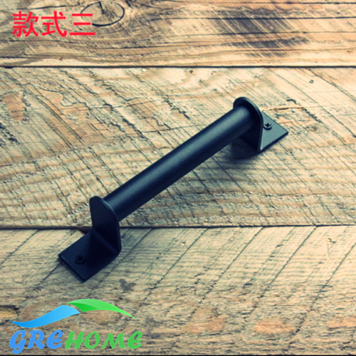 Black steel and stainless steel industrial style interior wood barn door handles jujube wood tube lucky stainless steel keychain black