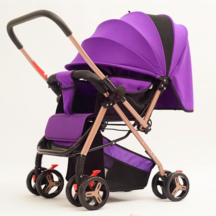 2 en 1 léger bébé poussette siège pliant inclinable bébé nouveau-né enfants main pousser parapluie poussette bidirectionnelle