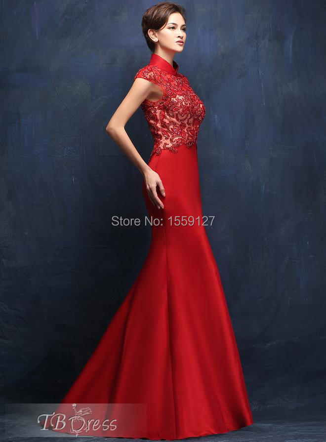 Chinese Traditional Red Beading Prom Dresses 2017 High Neck Short ...
