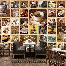 f213c566e7ccb شحن مجاني مخصص خلفيات جدارية الرجعية خمر القهوة متجر مقهى بار حائط الخلفية  الصور الزخرفية اللوحة