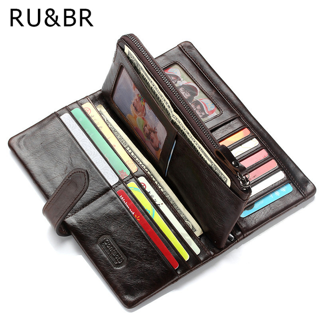 RU&BR New Fashion Men High Grade Wallet Genuine Leather Business Money Purse Brown Color Vintage Coin Packet 3 Folds Card Holder