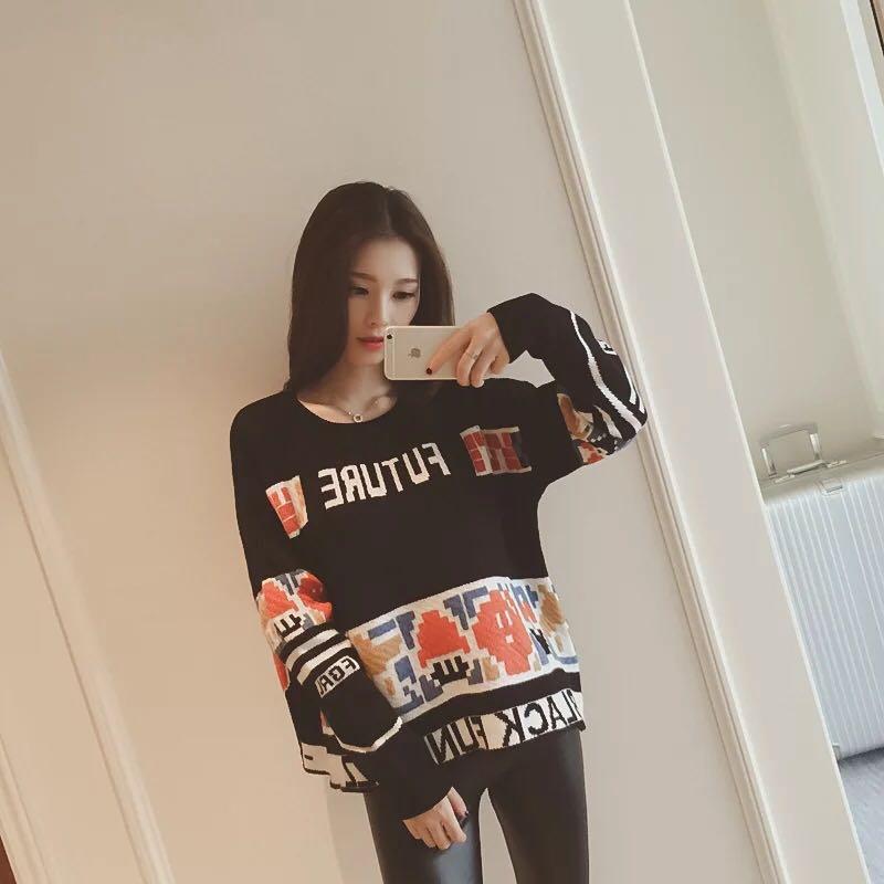 2018 outono Coreano nova carta cor imagem rodada long neck-sleeved pullover solta camisola camisa camisola 14