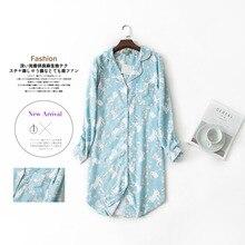 ロングナイトガウンパジャマスカートプラスサイズ寝間着長袖綿 100% Sleepshirts 女性パジャマファムドレス