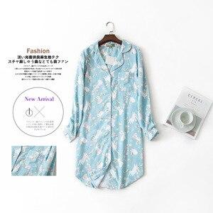 Image 1 - Lange Nachthemden Slumber Rok Plus Size Nachthemd Lange Mouwen 100% Katoen Sleepshirts Dames Vrouwen Nachtkleding Femme Jurk