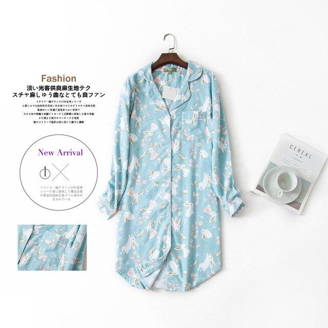 Lange Nachthemden Slumber Rok Plus Size Nachthemd Lange Mouwen 100% Katoen Sleepshirts Dames Vrouwen Nachtkleding Femme Jurk