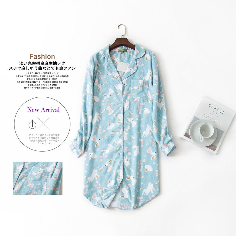 Long Nightgowns Slumber Skirt Plus Size Nightdress Long Sleeved 100% Cotton Sleepshirts Ladies Women Sleepwear Femme DressNightgowns & Sleepshirts   -