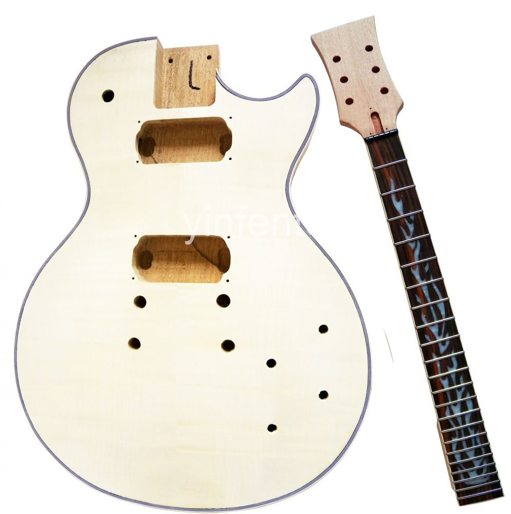 New High Quality Unfinished electric guitar body +neck rose wood fingerboard Mahogany body L  model free shipping new unfinished electric guitar with mahogany body silver blue large particles foam box f1669
