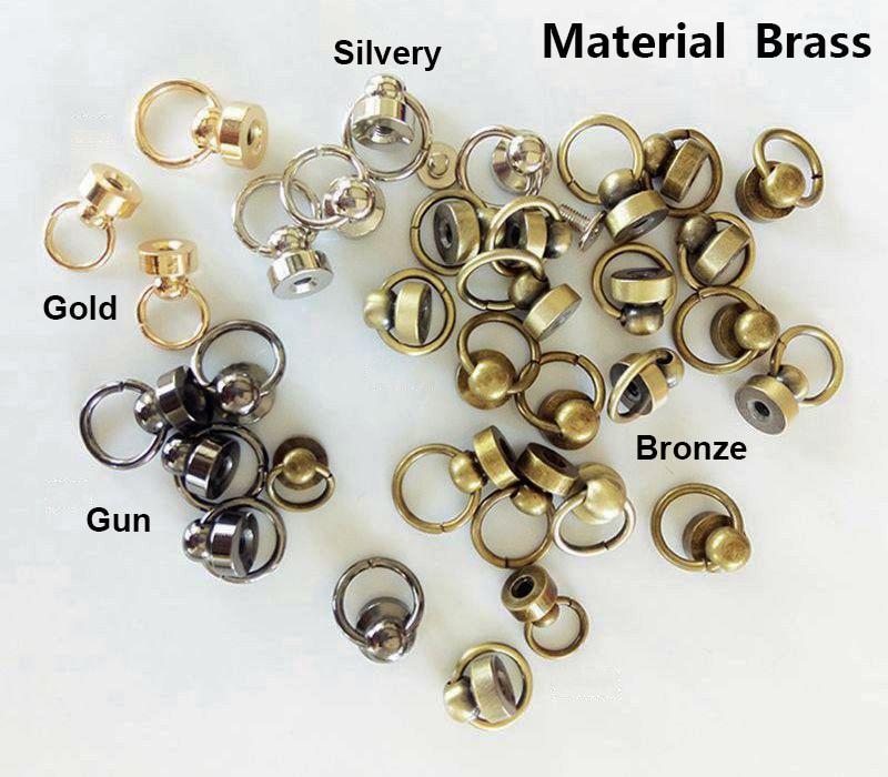 10Pcs Brass Rivet Studs Screw Back Round Head Ring Leather Craft Nipple Shape Accessories Decorations DIY for Belt Wallet Handbag