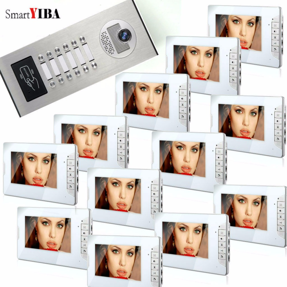 SmartYIBA 7 Inch Color Video Door Phone Kits 12 Units Apartment Video Intercom System RFID Control Access Video Door Camera smartyiba 7 home video intercom door phone unlock system rfid access door camera doorbell kits with power supply control option