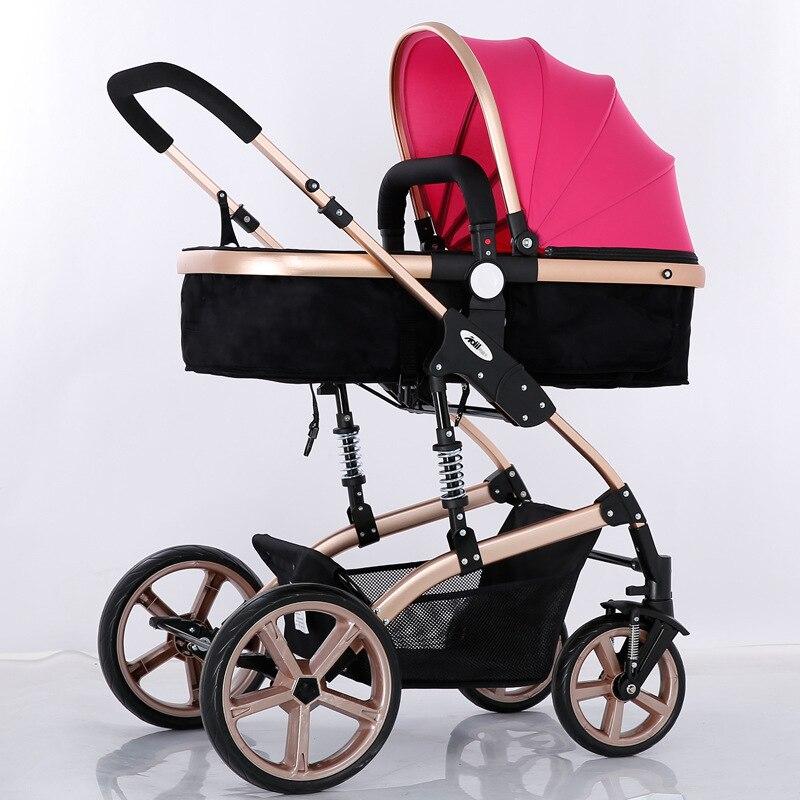 Four Wheels Stroller High-end baby stroller sitting double four-wheel shock absorber folding baby stroller bb baby stroller