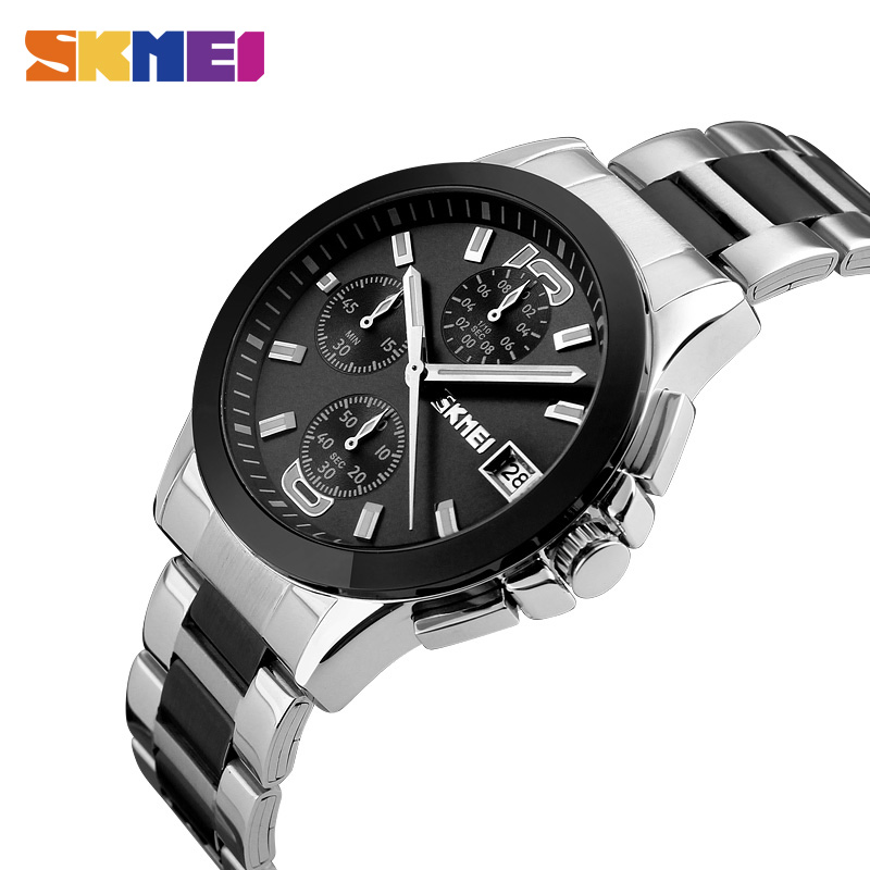 New Arrival SKMEI Men Quartz Watches Male Classic Business Waterproof StopWatch Luxury Brand Wristwatches Relogio Masculino 9126 skmei luxury brand men business quartz watches 30m waterproof fashion watch leather strap wristwatches relogio masculino 9117