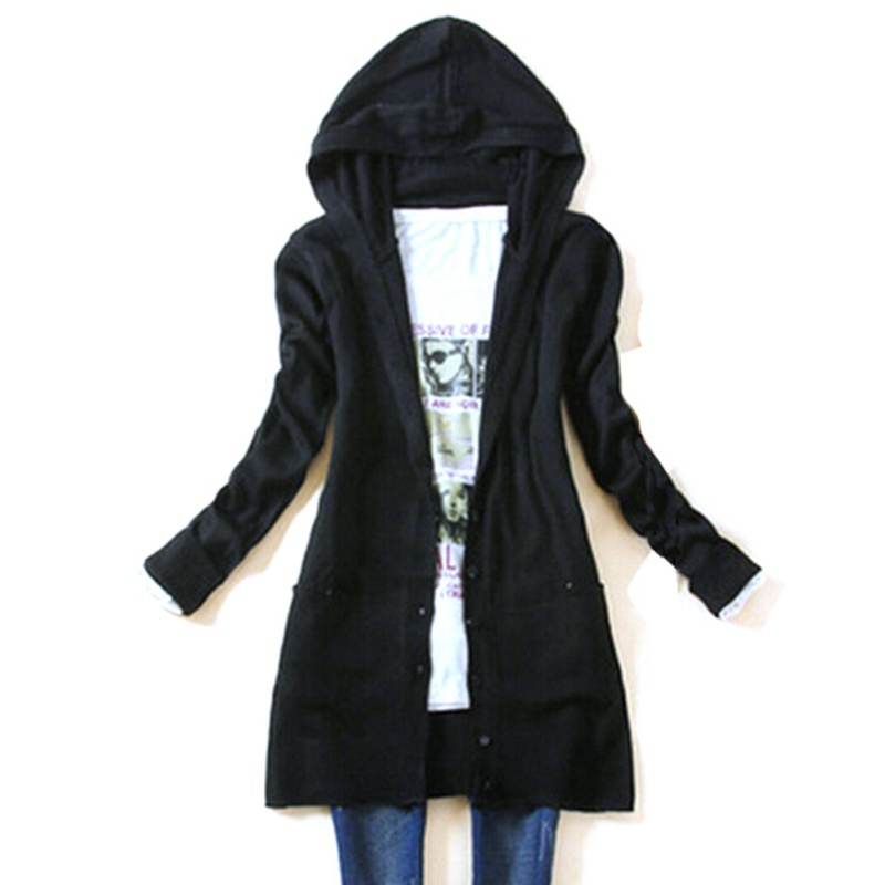 Autumn Women's Long Sleeve Knitted Outerwear Medium Long Hooded ...