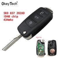 Okeytech chave remota 434 mhz id48 chip para vw volkswagen golf passat tiguan polo jetta beetle carro keyless 5k0 837 202ad 5k0837202a