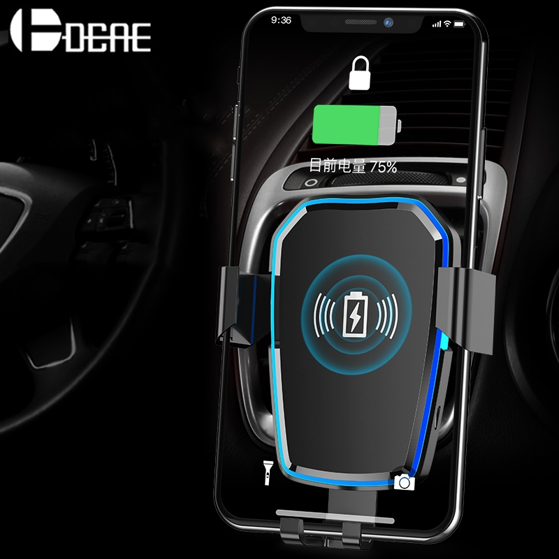 DCAE Drahtlose Auto Ladegerät 10 watt Qi Schnelle Lade Auto Montieren Schwerkraft Air Vent-Halter Für iPhone X 8 XS Max XR Samsung S9 S8