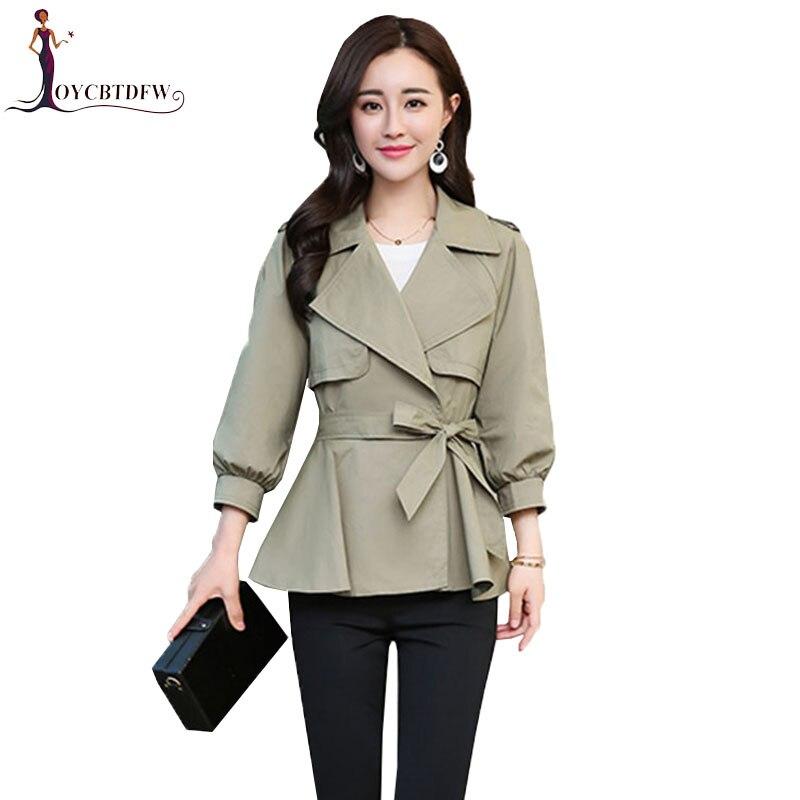 Spring Harajuku Women Windbreaker 2018 New Autumn Korean Casual Wild Slim Pure Color Trench Coat Female Short Windbreaker coat