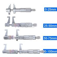 Inside Micrometer Measuring-Tools Screw-Gauge Metric 4pcs Ratchet 50-75mm/75-100mm