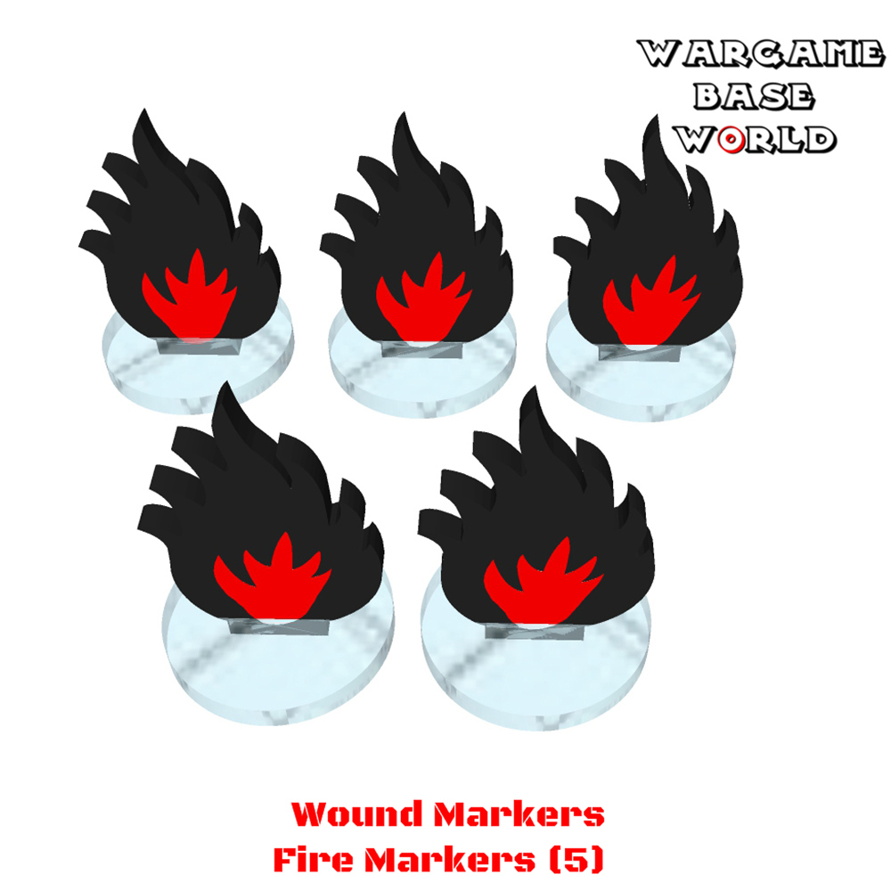 Wargame Base World - Wound Markers - Fire Markers (5)