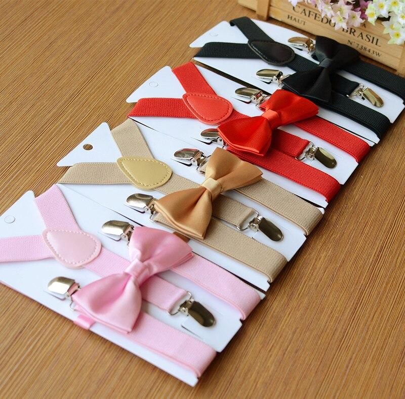 200sets lot children candy color Suspenders bowtie set kids Y Back Adjustable Elastic Boys Suspenders Bow