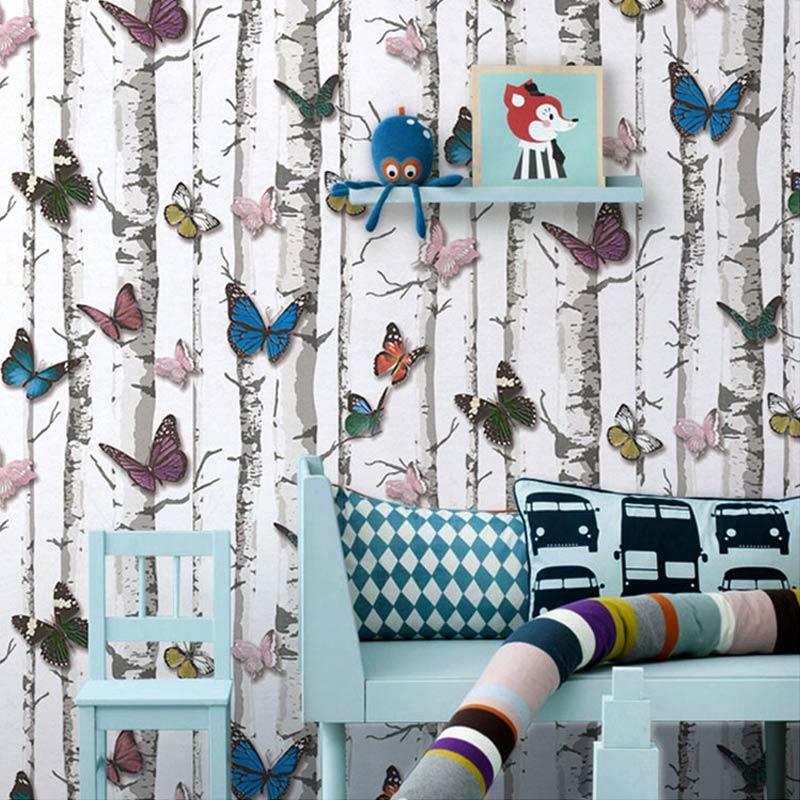 PVC Vinyl Waterproof Embossed Butterfly Trees Wallpaper Roll Children Bedroom Living Room Store Desktop 3D Background Wall Paper coloring of trees