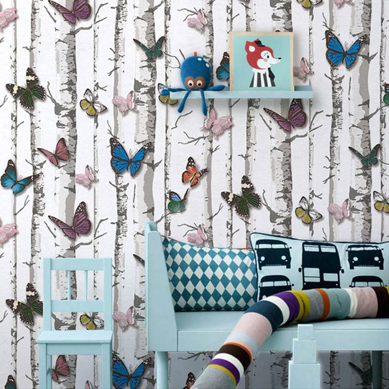 PVC Vinyl Waterproof Embossed Butterfly Trees Wallpaper Roll Children Bedroom Living Room Store Desktop 3D Background Wall Paper