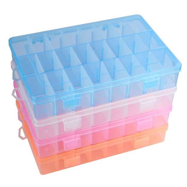 Lovely 4 Colors Adjustable 24 Compartment Plastic Storage Box Bead Jewelry Earring  Case Display Organizer