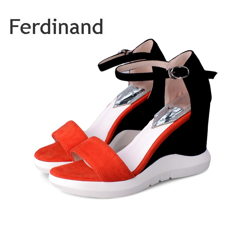 Wedges Women shoes Genuine leather Sheepskin Summer women Casual Sandals Platform Buckle Mixed color Blue Red Peep toe phyanic 2017 gladiator sandals gold silver shoes woman summer platform wedges glitters creepers casual women shoes phy3323