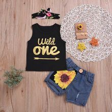 Summer Baby Girls Set Sleevless Letter Print Vest Tops+Denim Shorts Suits With Headband Casual Outfits Sets недорого