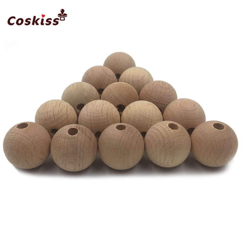 100pc Wooden Teether Chewable 10-20mm Beech Round Beads Ecofriendly Unfinished Natural Wood Beads DIY Craft Jewelry Accessories